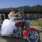 Bridal portrait on a motorocycle at the Esquimalt Lagoon