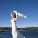 bride at ocean in South Vancouver Island