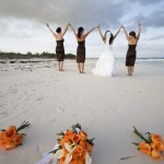 bridesmaids on the beach in Tulum, Mexico
