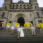 Wedding Party on the Legislature in victoria bc
