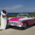 Pink convertible for the wedding couple in cuba