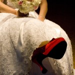 a brides red shoe