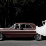 parksville wedding with bride groom and classic car