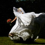 bride dancing on the lawn in Cobble hill