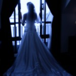 a bride looking out the window