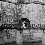 a bride crossing the moat in Havana cuba