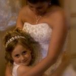 a bride and her daughter before the ceremony