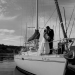 Wedding portrait on a boat in oak bay marina