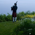 bagpiper at Sooke Harbour House