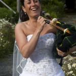 bride with bagpipes Sooke Harbour House