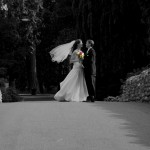 B&W photo of a wedding couple