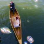 Pender Island wedding portrait in canoe with bubbles