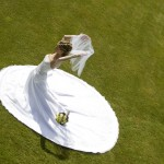 Bride on lawn in the summer