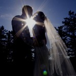 silhouette picture of bride and groom