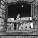 Hatley Castle B&W wedding photo