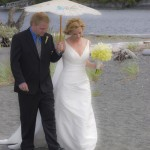 wedding ceremony on the bach in port renfrew