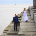Bride and groom in Victoria Bc at the Ogden point breakwater