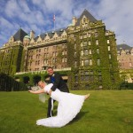 portrait in front of the Empress Hotel in Victoria BC