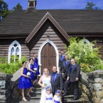 Wedding party outside of a church in DUncan BC