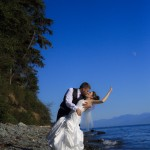 Bride & Groom on Beach outside of Victoria, BC